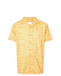 Chemise à manches courtes imprimée jaune Onia