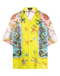 Chemise à manches courtes imprimée jaune Versace