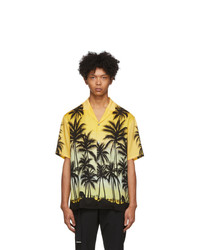Chemise à manches courtes imprimée jaune Wooyoungmi