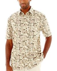 Chemise à manches courtes imprimée marron clair