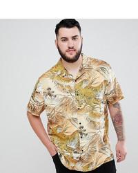 Chemise à manches courtes imprimée marron clair ASOS DESIGN