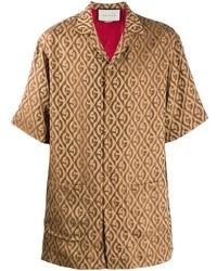 Chemise à manches courtes imprimée marron clair Gucci