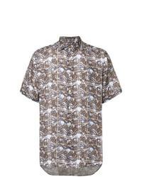 Chemise à manches courtes imprimée marron