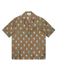 Chemise à manches courtes imprimée marron Gucci