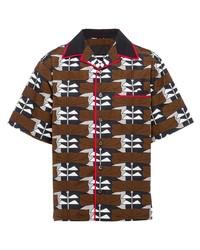 Chemise à manches courtes imprimée marron Prada