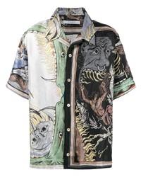 Chemise à manches courtes imprimée multicolore Givenchy