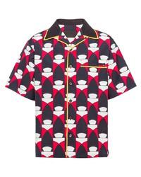 Chemise à manches courtes imprimée multicolore Prada