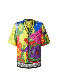 Chemise à manches courtes imprimée multicolore Versace