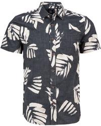 Chemise à manches courtes imprimée noire et blanche