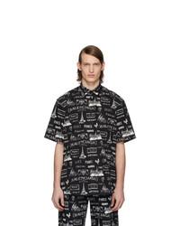 Chemise à manches courtes imprimée noire et blanche Balenciaga