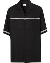Chemise à manches courtes imprimée noire et blanche Burberry