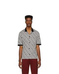 Chemise à manches courtes imprimée noire et blanche Dolce and Gabbana