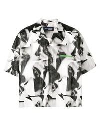 Chemise à manches courtes imprimée noire et blanche DSQUARED2