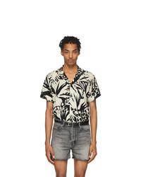 Chemise à manches courtes imprimée noire et blanche Saint Laurent