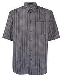 Chemise à manches courtes imprimée noire et blanche Versace