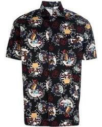 Chemise à manches courtes imprimée noire