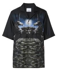 Chemise à manches courtes imprimée noire Burberry