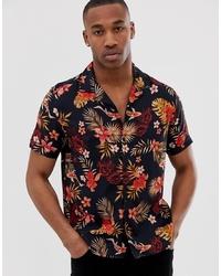 Chemise à manches courtes imprimée noire Burton Menswear