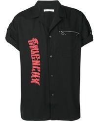 Chemise à manches courtes imprimée noire Givenchy