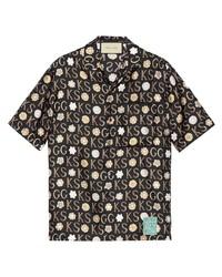 Chemise à manches courtes imprimée noire Gucci