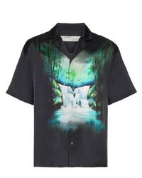 Chemise à manches courtes imprimée noire Off-White