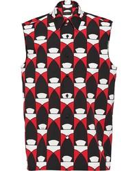 Chemise à manches courtes imprimée noire Prada