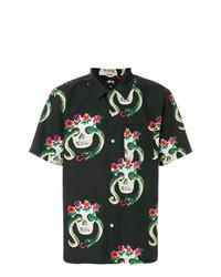 Chemise à manches courtes imprimée noire Stussy