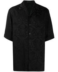 Chemise à manches courtes imprimée noire Versace