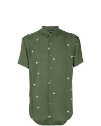 Chemise à manches courtes imprimée olive Emporio Armani