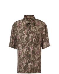 Chemise à manches courtes imprimée olive Lanvin