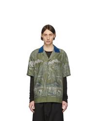 Chemise à manches courtes imprimée olive Sacai