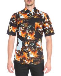 Chemise à manches courtes imprimée orange