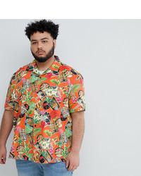 Chemise à manches courtes imprimée orange ASOS DESIGN