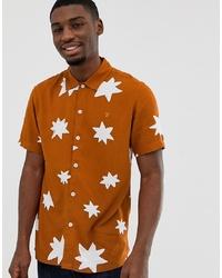 Chemise à manches courtes imprimée orange Farah