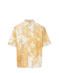Chemise à manches courtes imprimée orange MSGM