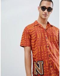 Chemise à manches courtes imprimée orange Nudie Jeans