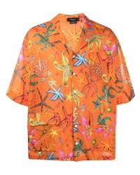 Chemise à manches courtes imprimée orange Versace