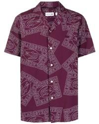 Chemise à manches courtes imprimée pourpre foncé Lacoste