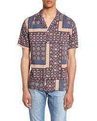 Chemise à manches courtes imprimée pourpre