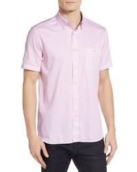 Chemise à manches courtes imprimée rose