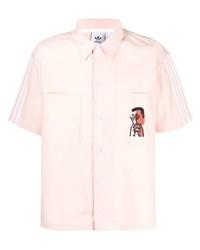 Chemise à manches courtes imprimée rose adidas