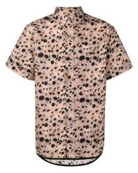 Chemise à manches courtes imprimée rose Lanvin