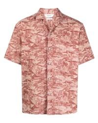 Chemise à manches courtes imprimée rose Z Zegna