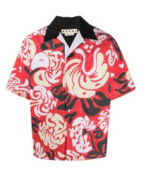 Chemise à manches courtes imprimée rouge Marni