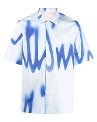 Chemise à manches courtes imprimée tie-dye bleu clair Paul Smith