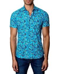 Chemise à manches courtes imprimée turquoise
