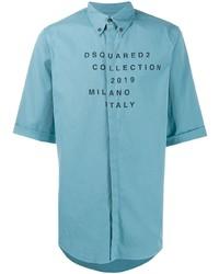Chemise à manches courtes imprimée turquoise DSQUARED2