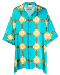 Chemise à manches courtes imprimée turquoise Gucci