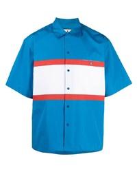 Chemise à manches courtes imprimée turquoise Marni