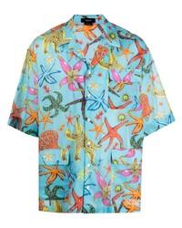 Chemise à manches courtes imprimée turquoise Versace